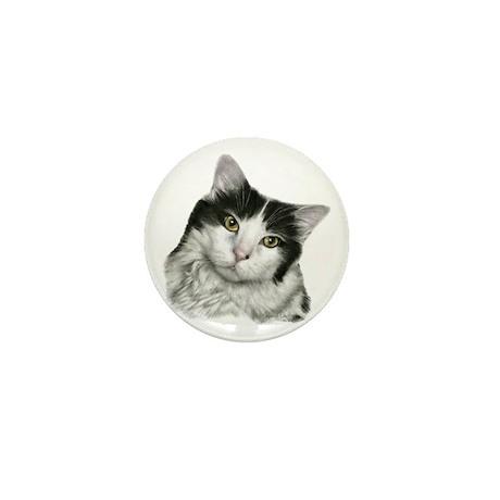 Pierre, Black & White Cat Mini Button (100 pack)