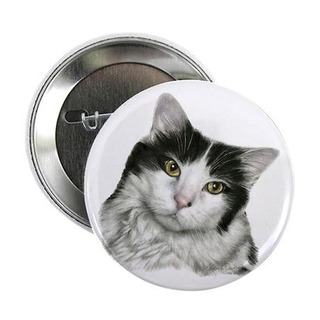 "Pierre, Black & White Cat 2.25"" Button (10 pack)"