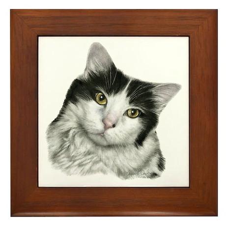 Pierre, Black & White Cat Framed Tile