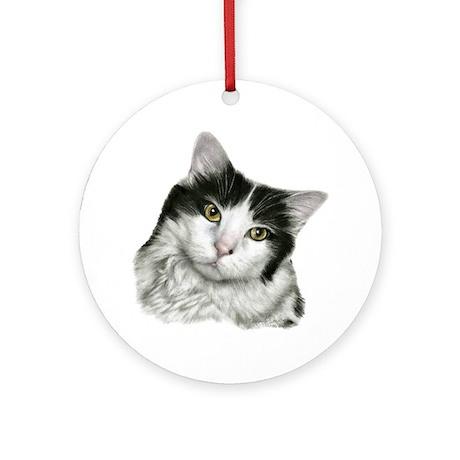 Pierre, Black & White Cat Ornament (Round)