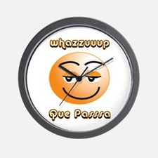 Whasssuup / Que Passsa Smilie Wall Clock