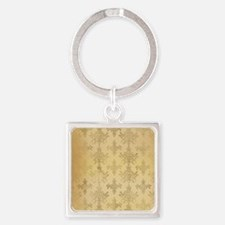 gold tone distressed damask patter Square Keychain