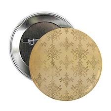 "gold tone distressed damask pattern 2.25"" Button"