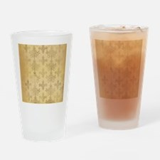 gold tone distressed damask pattern Drinking Glass