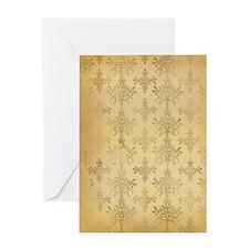 gold tone distressed damask pattern Greeting Card
