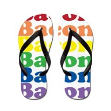 funny bacon text rainbow Flip Flops