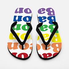 funny bacon text rainbow Flip Flops