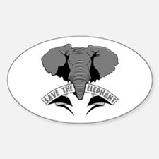 Save The Elephant Sticker (Oval)