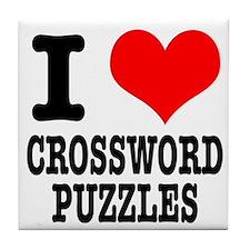 I Heart (Love) Crossword Puzzles Tile Coaster