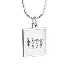 Super Family 2 Girls Silver Square Necklace
