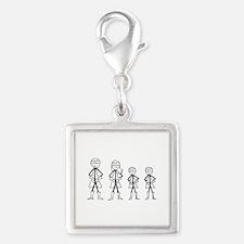 Super Family 2 Boys Silver Square Charm