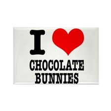 I Heart (Love) Chocolate Bunnies Rectangle Magnet