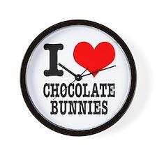 I Heart (Love) Chocolate Bunnies Wall Clock