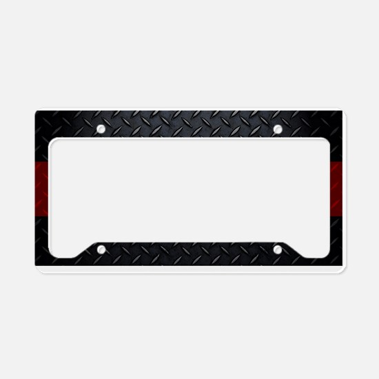 Diamond Plate Thin Red Line License Plate Holder