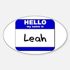 hello my name is leah Oval Decal