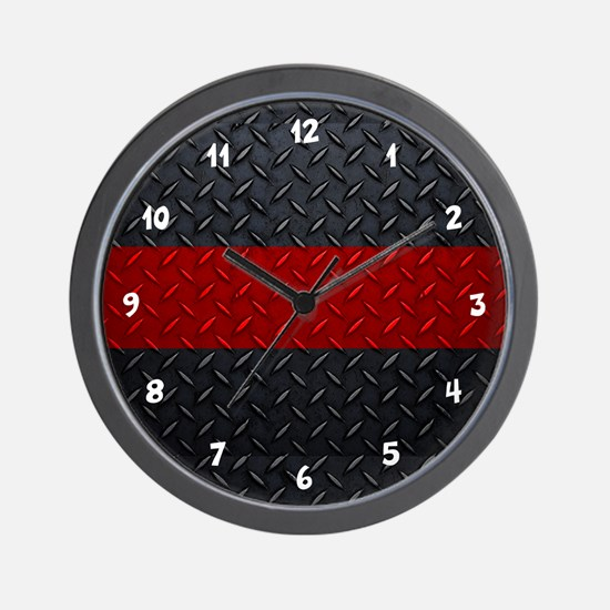 Fire And Rescue Diamond Plate Wall Clock