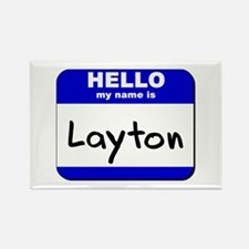 hello my name is layton Rectangle Magnet