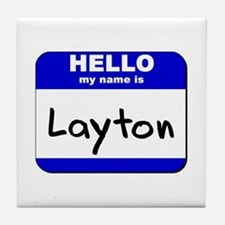 hello my name is layton  Tile Coaster