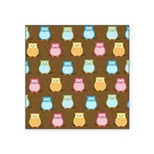 "Owl Pattern Lunch Tote - Br Square Sticker 3"" x 3"""
