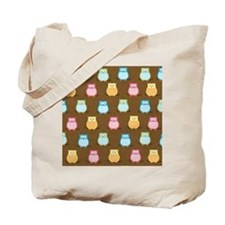 Owl Pattern Lunch Tote - Brown Tote Bag
