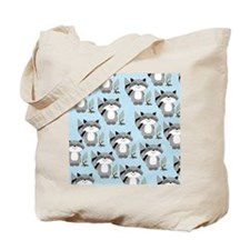 Raccoon Pattern Lunch Tote - Blue Tote Bag