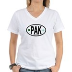 Pakistan Intl Oval Women's V-Neck T-Shirt