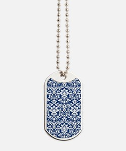 dark blue and white damask flourish Dog Tags