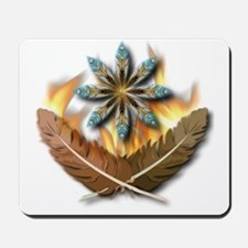 native red tailed hawk feathers and flam Mousepad