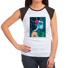 Sugar Skull Blue IPAD Women's Cap Sleeve T-Shirt