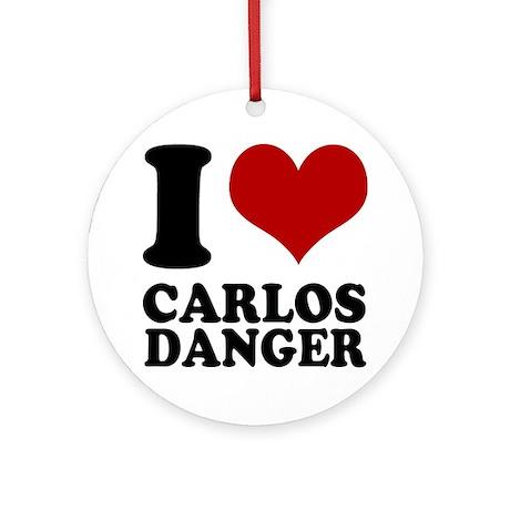 I heart Carlos Danger Round Ornament