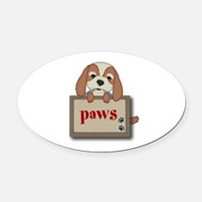 Customisable Cute Puppy Dog with Signboard Oval Ca