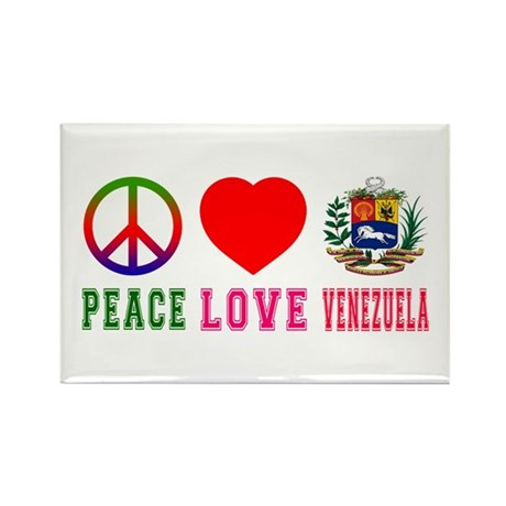 Peace Love Venezuela Rectangle Magnet (100 pack)