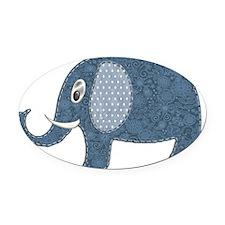 Dark Blue Floral Elephant with Pol Oval Car Magnet