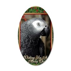 African Grey Parrot 35x21 Oval Wall Decal