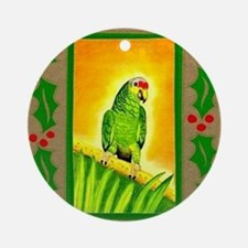 Amazon Red Lored Parrot Round Ornament