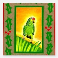 "Amazon Red Lored Parrot Square Car Magnet 3"" x 3"""