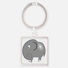 Balloon Grey Elephant Square Keychain