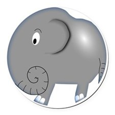 Balloon Grey Elephant Round Car Magnet