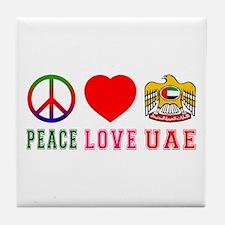 Peace Love United Arab Emirates Tile Coaster