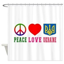 Peace Love Ukraine Shower Curtain