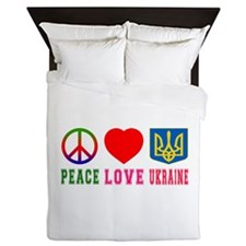 Peace Love Ukraine Queen Duvet