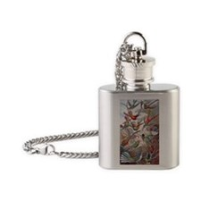 22x14 Exotic Hummingbirds RECT Deca Flask Necklace