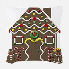 Cute Gingerbread House Christmas Woven Throw Pillo