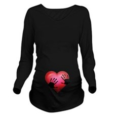 Handprints On Your Heart Long Sleeve Maternity T-S