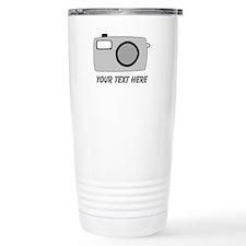 Gray Camera and Text. Travel Mug