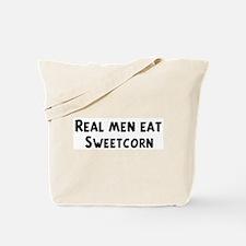 Men eat Sweetcorn Tote Bag