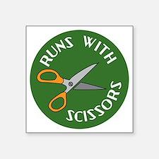 "Sew Sassy - Runs With Sciss Square Sticker 3"" x 3"""