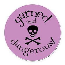 Knit Sassy - Yarned & Dangerous! Round Car Magnet