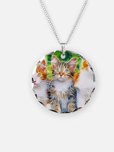 kittens fractal Necklace