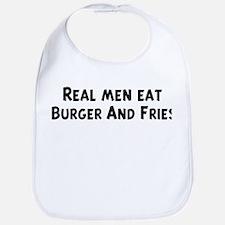 Men eat Burger And Fries Bib